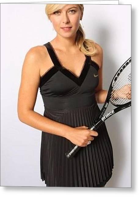 Maria Sharapova Tennis Racket Blonde Sportsmen 26293 300x532 Greeting Card