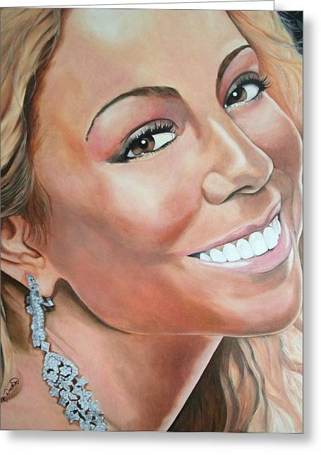 Mariah Carey Paintings Greeting Cards - Mariah Carey Greeting Card by Timothe Winstead