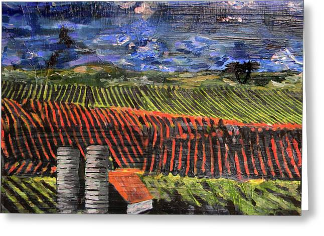 Greeting Card featuring the mixed media Marianne's Vineyard by Lisa McKinney