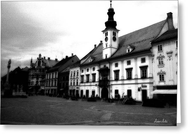 Maribor Square Black And White Greeting Card by Marko Mitic