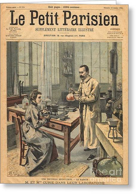 Marie And Pierre Curie In Laboratory Greeting Card by Science Source