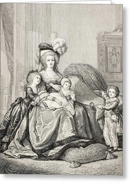 Marie-antoinette And Her Children. From Greeting Card by Vintage Design Pics