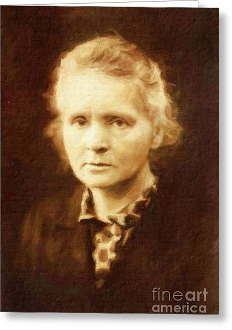 Marie Curie By Mary Bassett Greeting Card