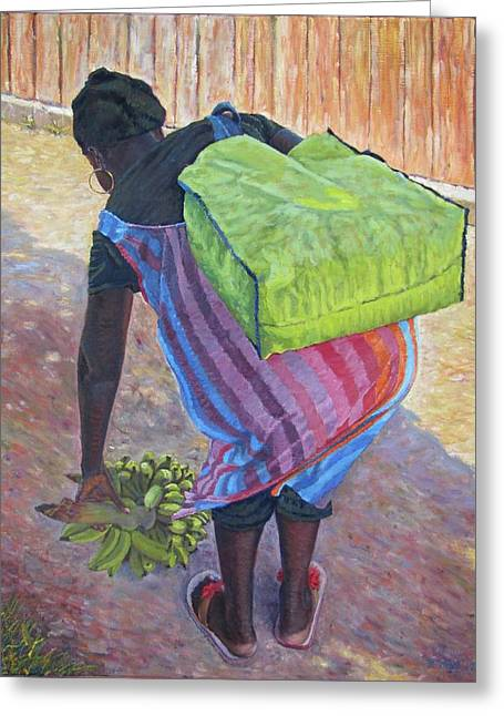 Woman At Her Chores Greeting Card