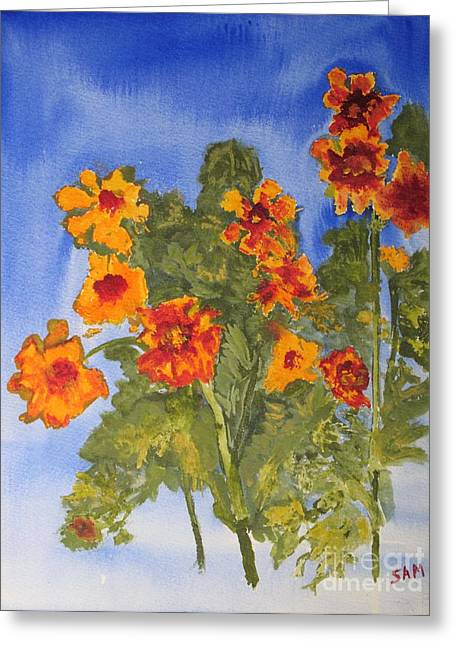 Greeting Card featuring the painting Marigolds by Sandy McIntire