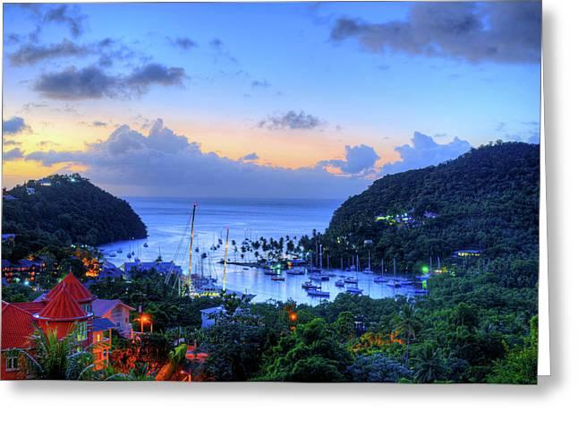 Marigot Bay Sunset Saint Lucia Caribbean Greeting Card