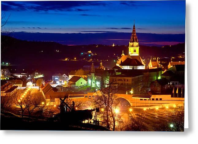 Marija Bistrica Marianic Shrine Evening View Greeting Card