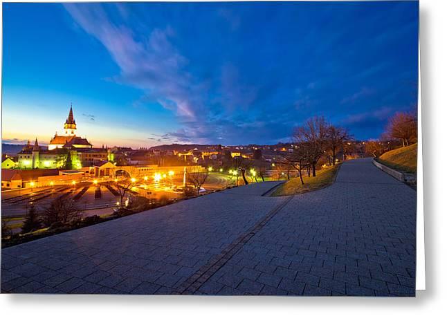 Marija Bistrica Shrine And Calvary Night View Greeting Card