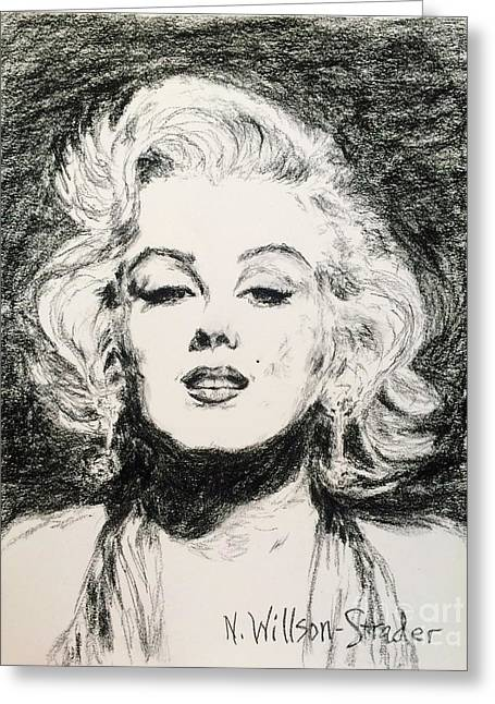 Marilyn, Black And White Greeting Card by N Willson-Strader