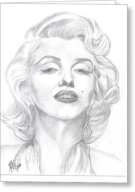 Greeting Card featuring the drawing Marilyn  by Carol Wisniewski
