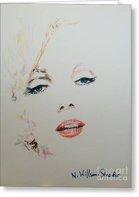 Marilyn, Charcoal And Oil Pastels Greeting Card by N Willson-Strader