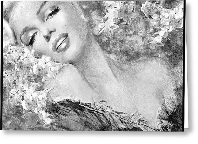 Marilyn Cherry Blossom Bw Greeting Card