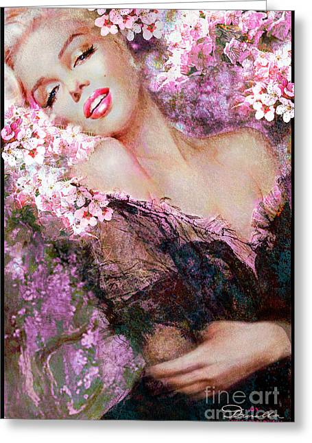 Marilyn Cherry Blossoms Pink Greeting Card