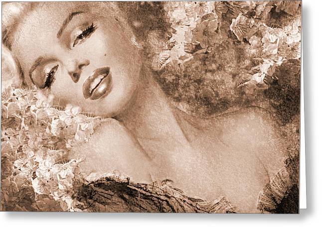 Marilyn Cherry Blossoms, Sepia Greeting Card
