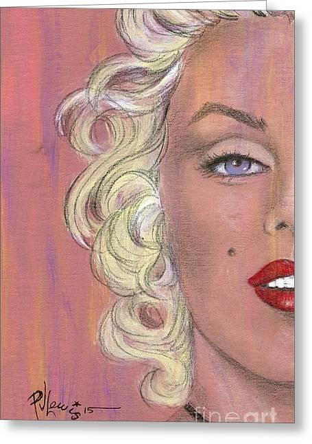 Marilyn Halfway Greeting Card by P J Lewis
