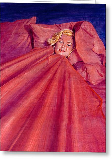 Marilyn In Bed Greeting Card by Ken Meyer jr