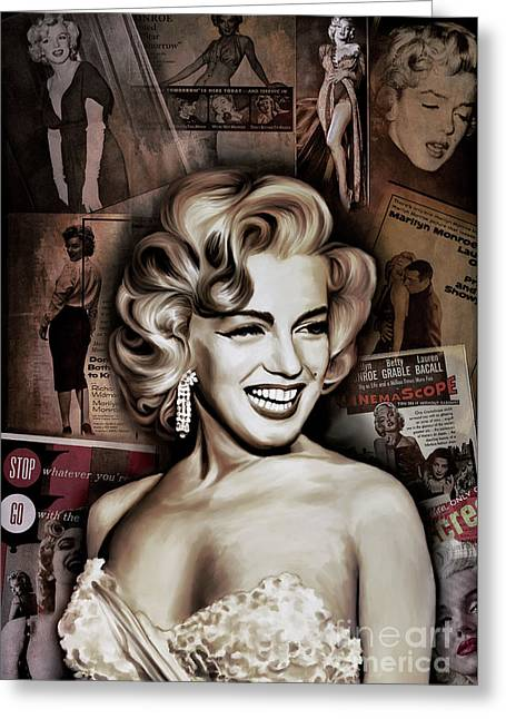 Greeting Card featuring the painting   Marilyn Monroe 4  by Andrzej Szczerski