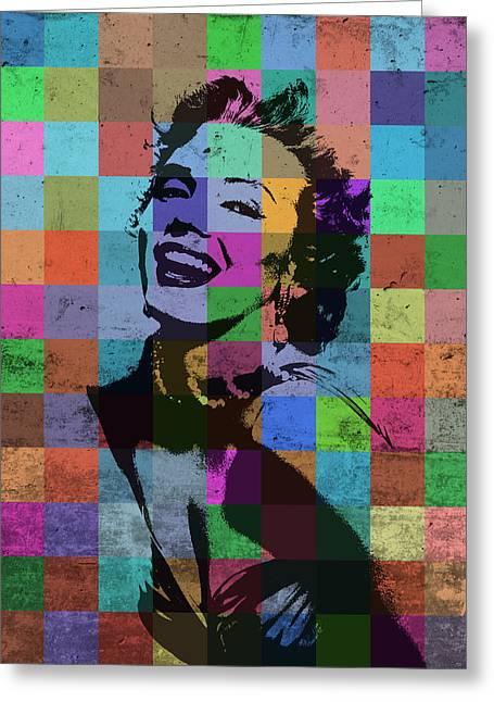 Marilyn Monroe Actor Hollywood Pop Art Patchwork Portrait Pop Of Color Greeting Card
