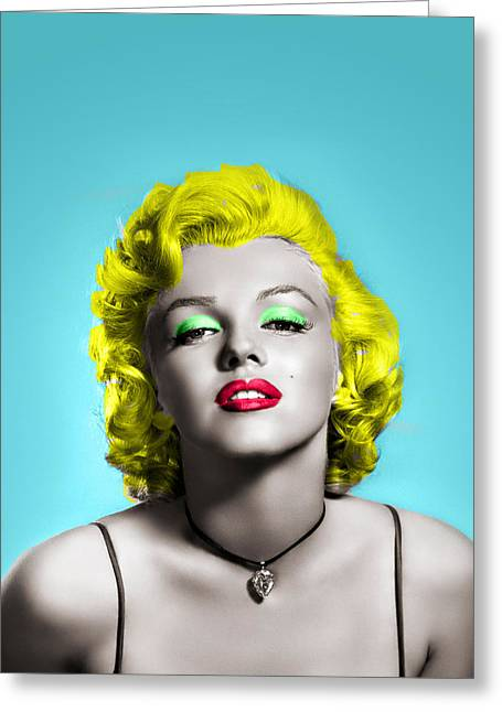 Marilyn Monroe And Blue Greeting Card