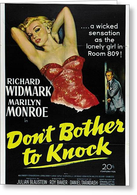 Greeting Card featuring the photograph Marilyn Monroe And Richard Widmark In Don't Bother To Knock by R Muirhead Art