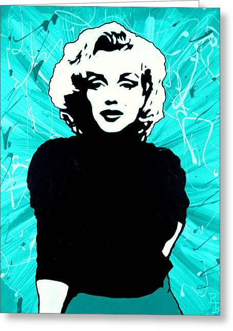 Marilyn Monroe Blue Green Aqua Tint Greeting Card