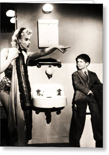 Greeting Card featuring the photograph Marilyn Monroe Spied On By Cheeky Boy In Changing Room by R Muirhead Art