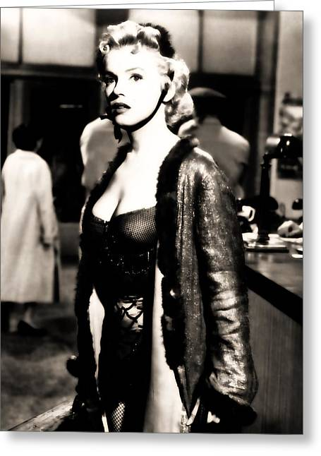 Greeting Card featuring the photograph Marilyn Monroe Dressed To Trill In Bus Stop by R Muirhead Art