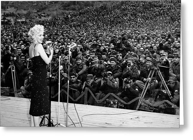 Marilyn Monroe Entertaining The Troops In Korea Greeting Card by American School