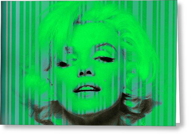 Marilyn Monroe In Green Greeting Card by Kim Gauge