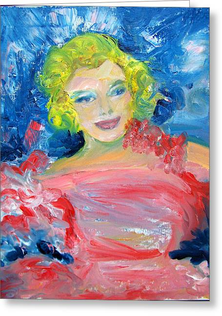 Marilyn Monroe In Pink And Blue Greeting Card by Patricia Taylor