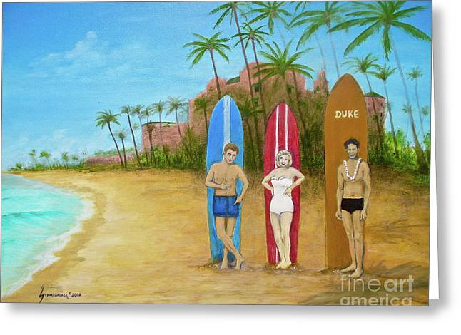 Marilyn Monroe And James Dean In Waikiki Greeting Card by Jerome Stumphauzer