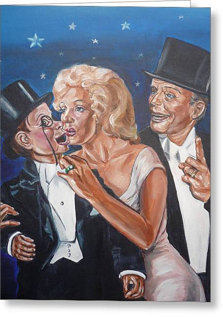Marilyn Monroe Marries Charlie Mccarthy Greeting Card