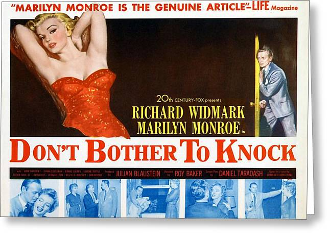 Greeting Card featuring the photograph Marilyn Monroe Movie Poster Don't Bother To Knock by R Muirhead Art