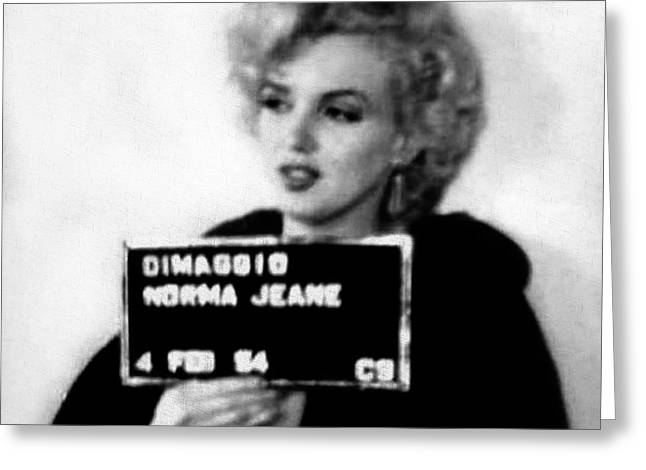 Marilyn Monroe Mugshot In Black And White Greeting Card by Bill Cannon