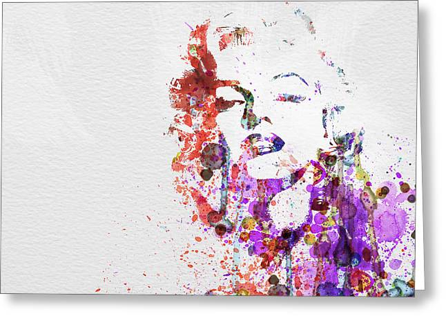 Film Watercolor Greeting Cards - Marilyn Monroe Greeting Card by Naxart Studio