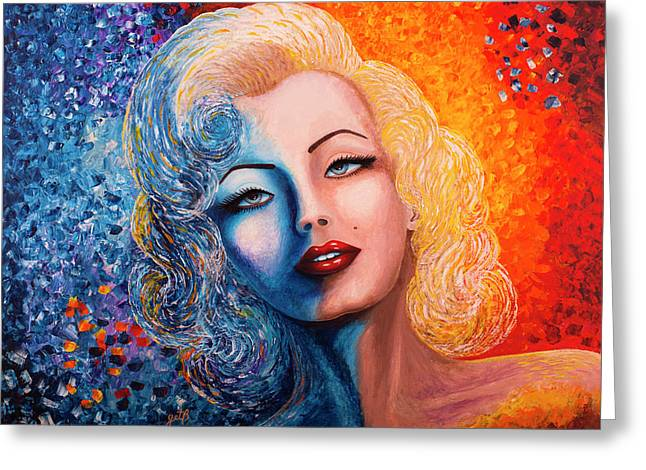 Greeting Card featuring the painting Marilyn Monroe Original Acrylic Palette Knife Painting by Georgeta Blanaru