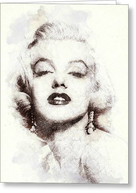 Marilyn Monroe Portrait 02 Greeting Card by Pablo Romero