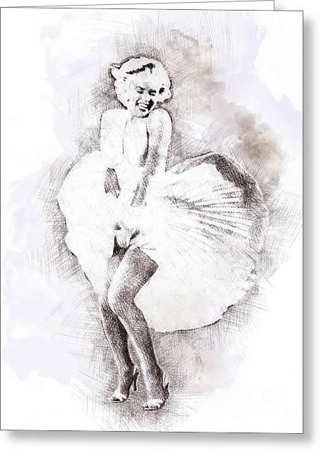 Marilyn Monroe Portrait 03 Greeting Card by Pablo Romero