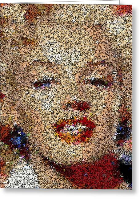 Marilyn Monroe Puzzle Mosaic Greeting Card by Paul Van Scott