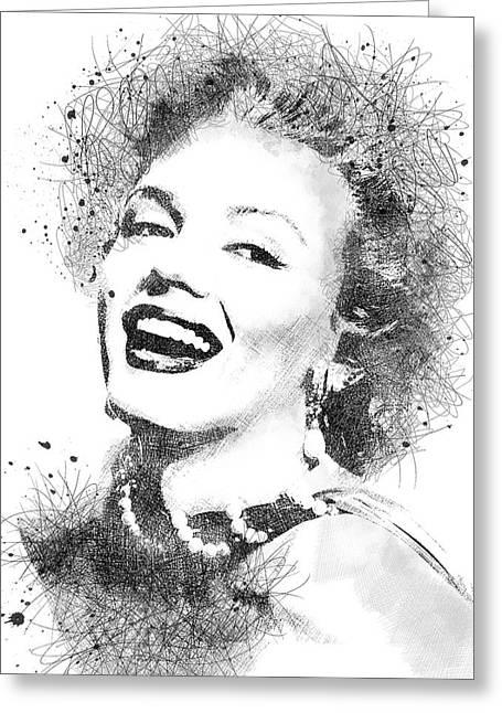Marilyn Monroe Scribbles Portrait Greeting Card