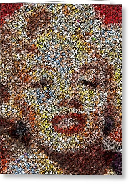 Marilyn Monroe Skull Mosaic Greeting Card by Paul Van Scott