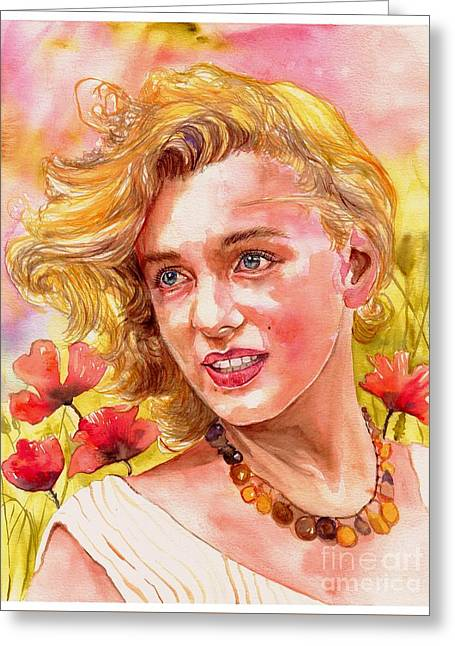 Marilyn Monroe With Poppies Greeting Card