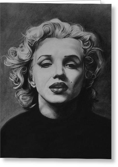 Charcoal Portrait Greeting Cards - Marilyn Greeting Card by Steve Hunter