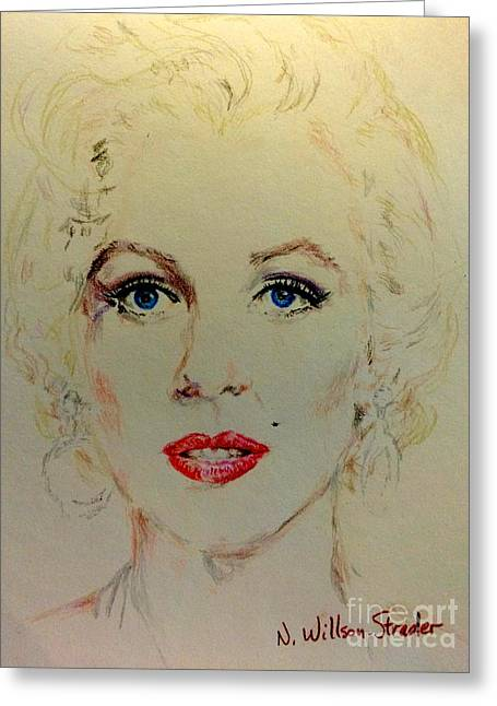 Marilyn In White Greeting Card by N Willson-Strader