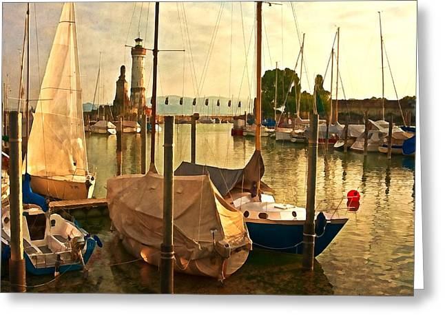 Marina At Golden Light - Digital Paint Greeting Card