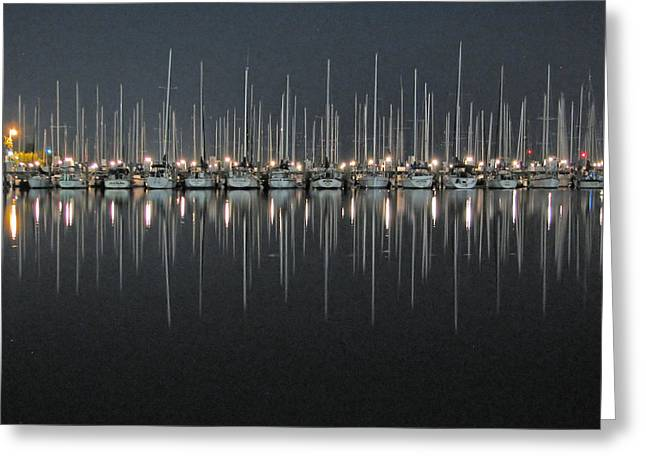 Greeting Card featuring the photograph Marina At Night by Farol Tomson