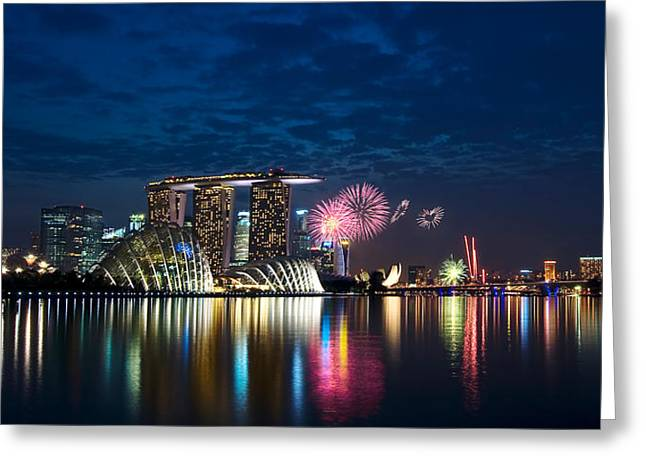 Marina Bay In Panorama Greeting Card