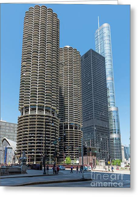 Marina City, Ama Plaza, And Trump Tower Greeting Card