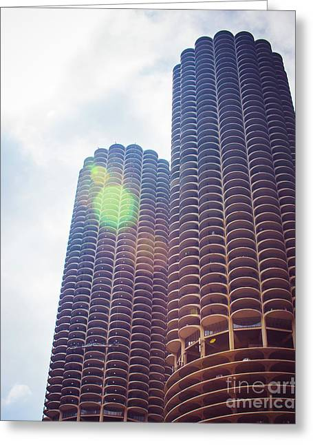 Marina City Towers In The Sun Greeting Card