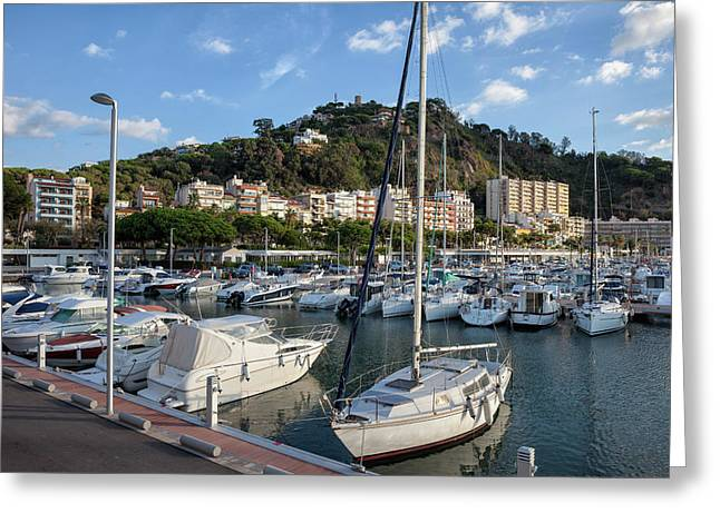 Marina In Blanes Town In Spain Greeting Card